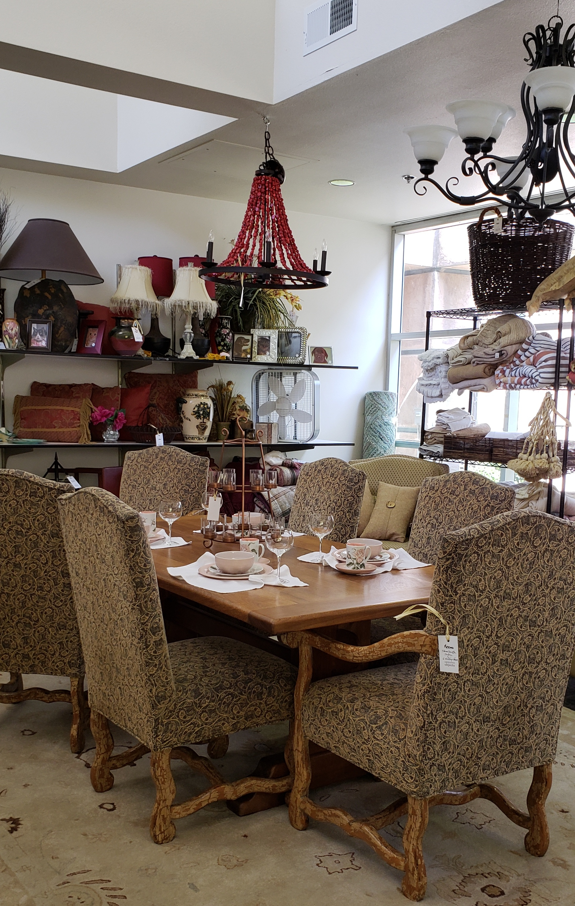 You may find....dining tables and lamps