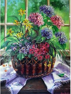 Flower Basket Oil Painting