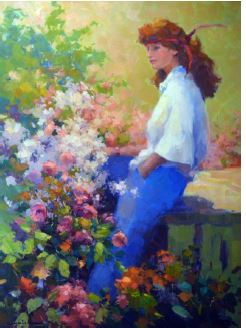 Lady In Garden Oil Canvas
