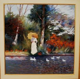 Lady Strolling Oil on Canvas