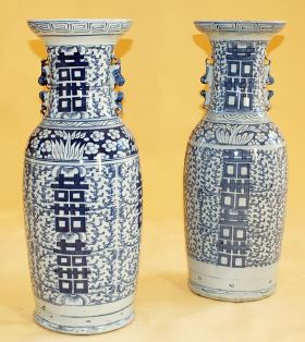 Late Qing Dynasty blue porcelain vases
