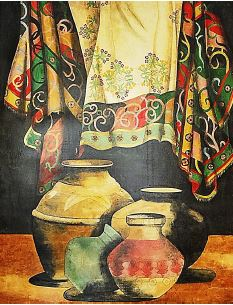 Serigraph Still life Mexican Pottery